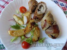 Куриная котлета с грибами и сыром