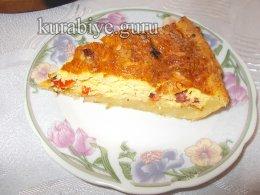 Пирог киш с омлетом и ветчиной