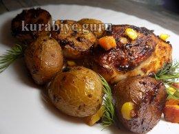 Курица запечённая с картофелем в медово-горчичном соусе