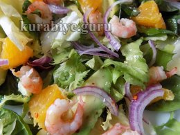 Салат с креветками и апельсинами