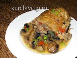 Острая курица тушеная с грибами и перцем