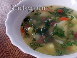Куриный суп с зелёным горошком замороженным