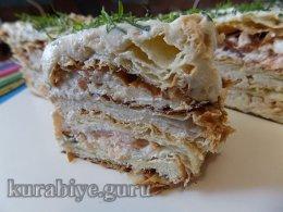 Закусочный торт Наполеон с копчёной рыбой