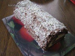 Шоколадный бисквитный рулет c лимонно-сливочным кремом