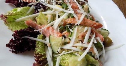 Картофельный салат с копчёной сёмгой
