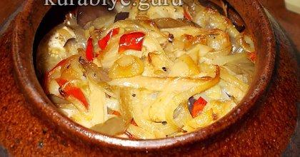 Жаркое из курицы с фасолью и баклажанами