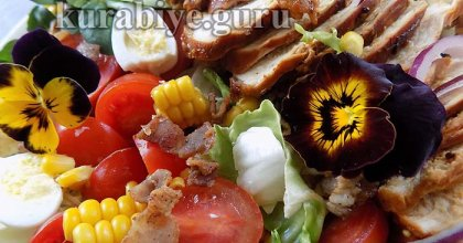 Куриный салат с медово-горчичной заправкой