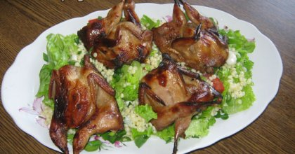 Перепел, запечённый в духовке с салатом из кускуса