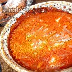 Постный борщ с килькой в томате