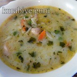 Сливочный суп с курицей и рисом