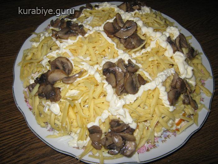 салат с вареной курицей и грибами рецепт с фото