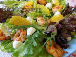 Салат с креветками, апельсинами и ореховой заправкой
