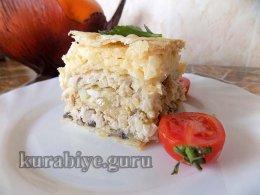 Закусочный торт Наполеон с мясом и грибами