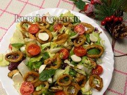 Салат с маринованными мидиями и кальмарами