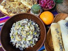 Оливье с грибами — постный салат с грибами
