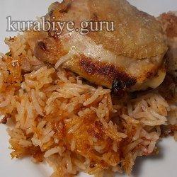 Запечённая курица с томатным рисом